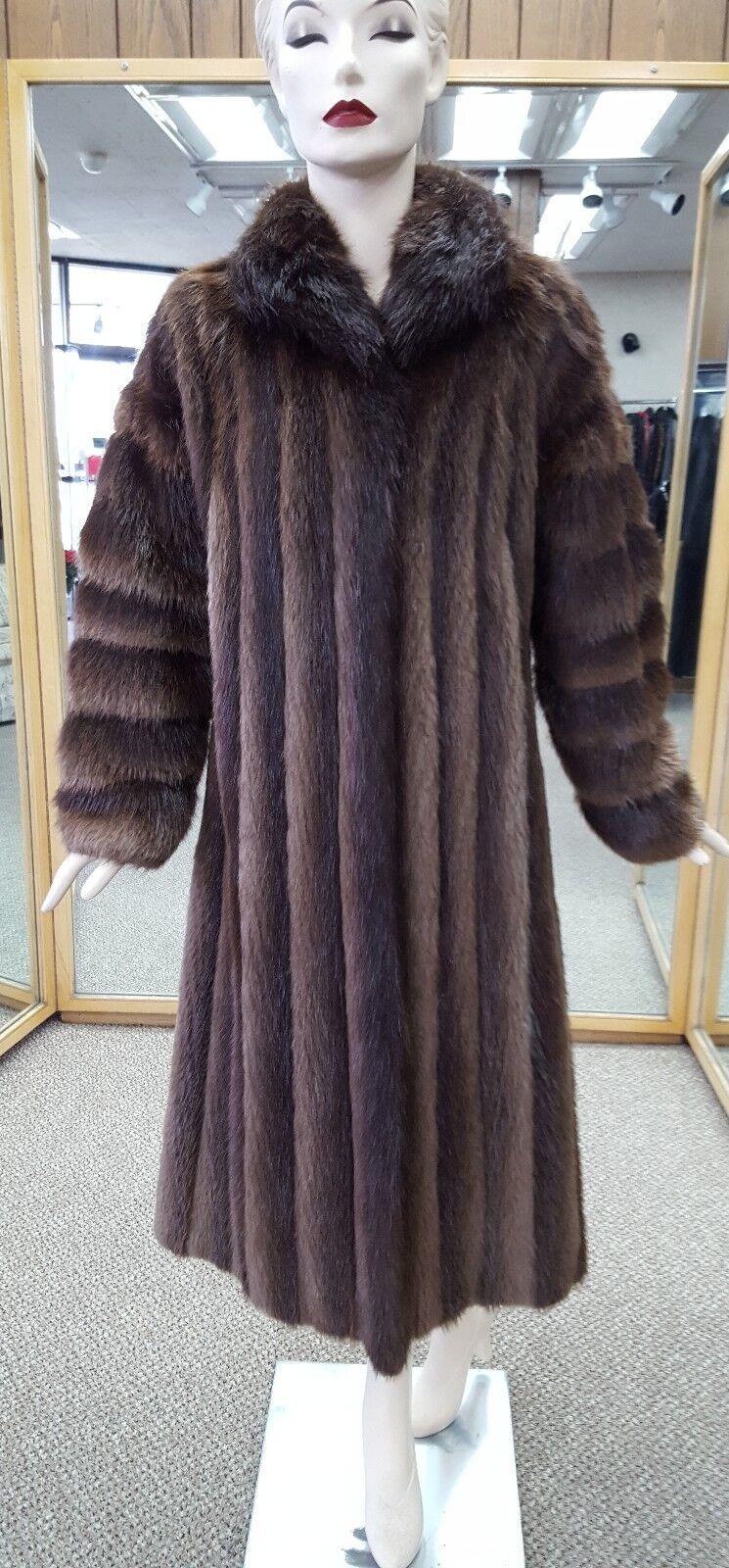 """Natural Brown Letout Long Hair Beaver 46"""" Coat w  Horizontal Sleeve Design - s10"""