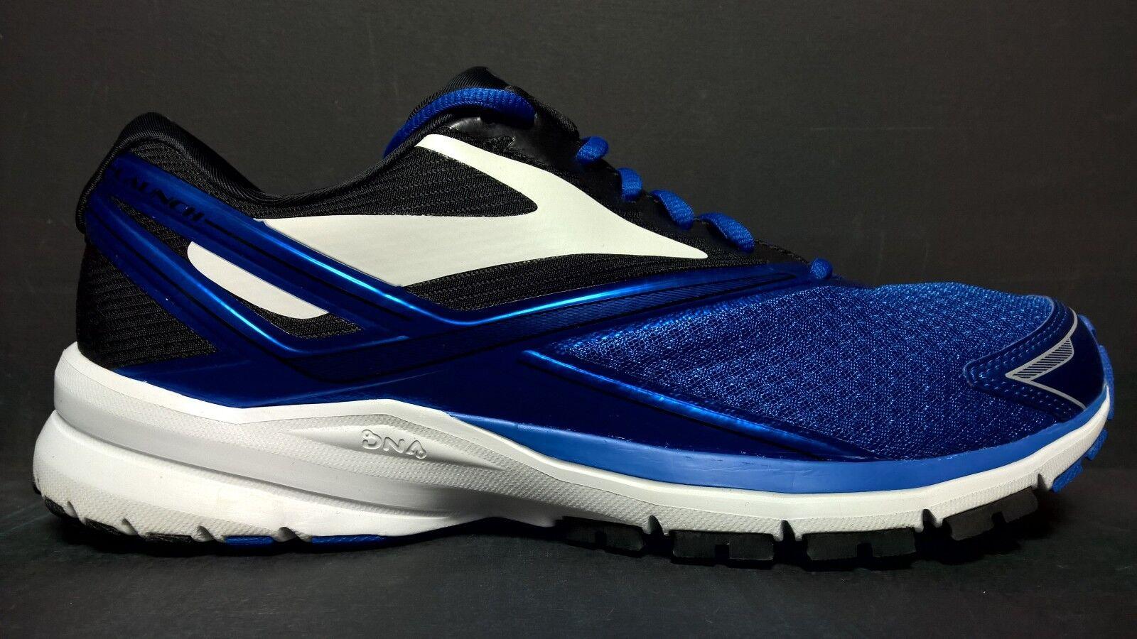 Brooks Homme Taille 10 Launch 4 Chaussures de course 110244 1D 486 Bleu Noir Blanc