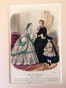 LE-FOLLET-Cromolitografia-di-moda-1866-in-passepartout-a-doppio-smusso-fashion