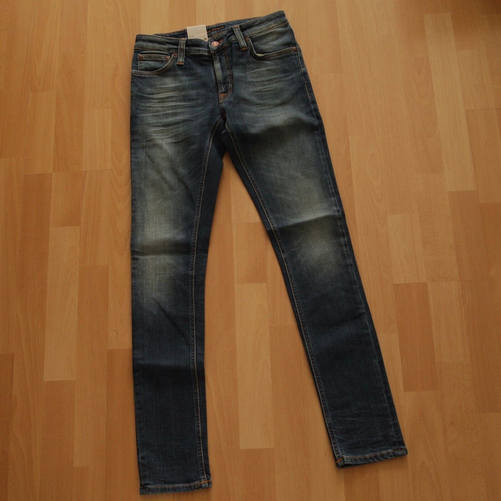 NUOVO Nudie Jeans Skinny Lin (skinny legs) Organic Sharp WORN WORN WORN 28 32 93b3fc