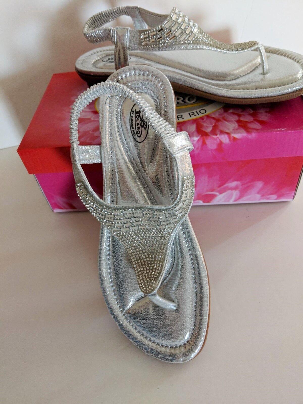 Bolaro By Summer Rio Chrome Rhinestone Sandals Thong Flip Flop DF7911