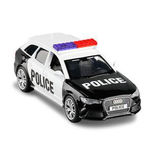 1-36-AUDI-RS-6-Avant-carro-de-policia-Coche-Modelo-Diecast-Juguete-Vehiculo-Tire-hacia-atras-Negro