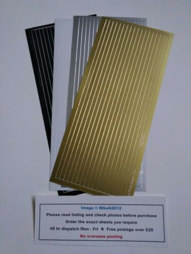 5mm Straight Line Border Stickers Straight Gold Silver Black Card Making Craft