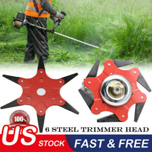 US-Outdoor-Trimmer-Head-6-Steel-Blades-Razors-65Mn-Lawn-Mower-Grass-Weed-Cutter