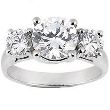 2 carat, 3 STONE ROUND DIAMOND ENGAGEMENT 14k WEDDING RING 1.04 ct center
