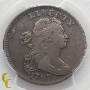 1797-Draped-Bust-Large-Cent-1C-Rev-of-1797-Stems-PCGS-Graded-VF-Details
