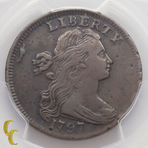 1797 Draped Bust Large Cent 1C Rev of 1797 Stems PCGS Graded VF Details