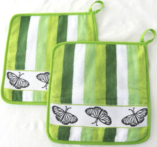 2x Gant de cuisine Papillons éponge cuisine Frottier Bâton qui DECO printemps vert