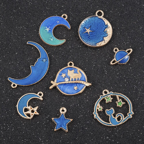 8X Cute Enamel Charm Star//Moon//Planet Pendant Earrings//Bracelet DIY Craft Gift