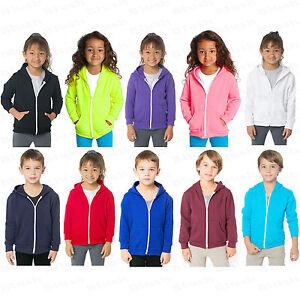 Enfants-Unisexe-Garcon-Fille-Uni-Polaire-Capuche-Pull-A-Capuche-Fermeture-Eclair