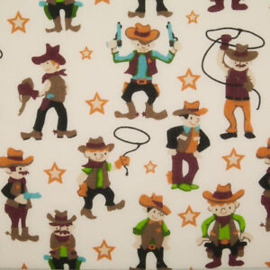 Childrens Kids Fabric COWBOY LASSO Polycotton Craft Material Metre Fat Quarter