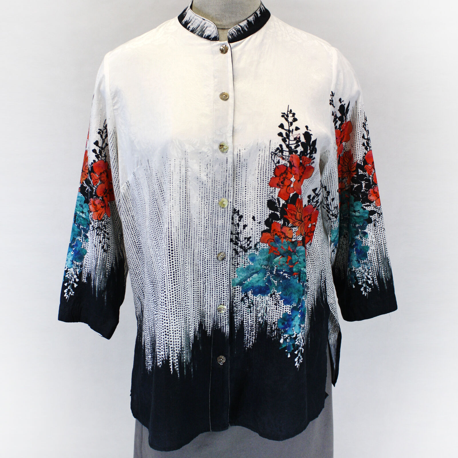Citron Clothing Plus Größe Digital Floral Embossed 100% Silk Blouse Plus 2X