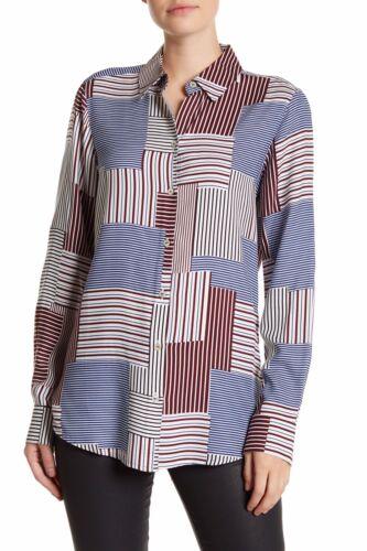 14 FOXCROFT Multi Color Patchwork Long Sleeve Shirt Sz 12