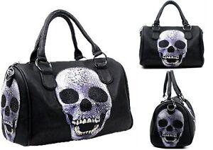 648a30a976266 Damen Handtasche Totenkopf Bowling Bag Strass Optik Punk Damentasche ...