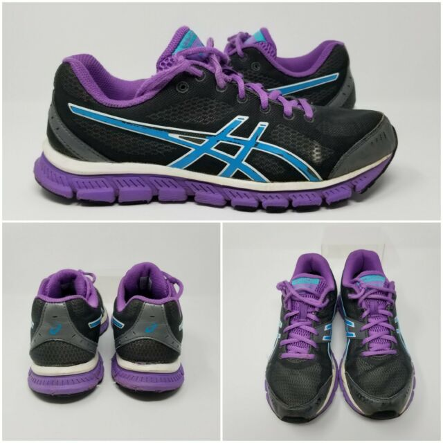 Asics Gel Flash Trainer Gray Purple Blue Womens Running Shoes Sneakers size 8.5