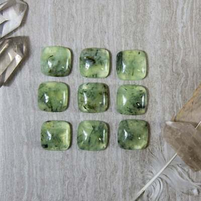 AAA Quality 10 Piece Natural Prehnite 12X12 MM Cushion Cabochon Loose Gemstone