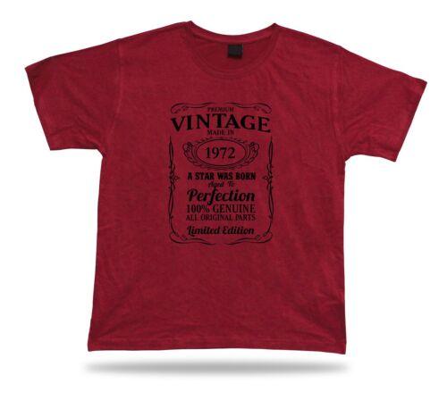 Printed T shirt tee star is born 1972 happy birthday present gift idea original