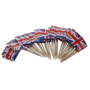 L7O2-Union-Jack-Drapeau-Cocktail-Sticks-50-Pack-Ideal-Pour-Les-Soirees-BBQ-039-s-QUEENS