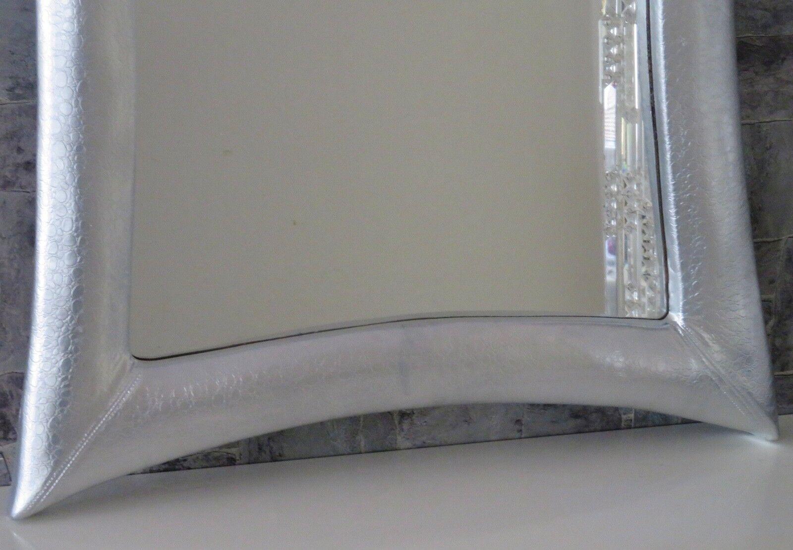 MIROIR MURAL ARGENT GRAND holzrahHommes 115x85 look cuir Coiffeur Coiffeur cuir De Couloir 747694