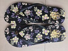 Tory Burch Thin Enamel Printed Flip Flops Sandal Thong Reva Flat sz 8 Black NEW