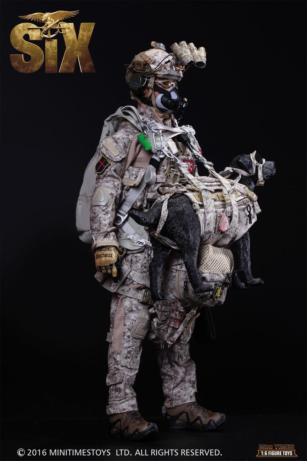 US Navy Seal Team Six K9 HALO Jumper w dog figurine 1 6 figure Mini Times M006