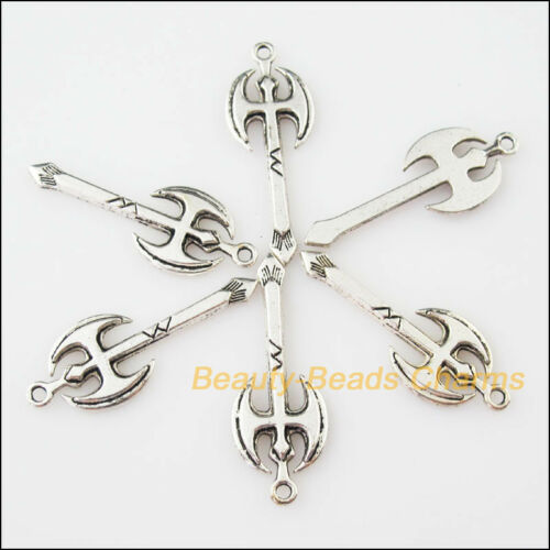 5Pcs Antiqued Silver Tone Tool Axe Chopper Charms Pendants 13.5x37mm