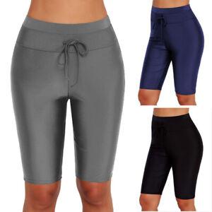 Shop für Beamte modische Muster Spielraum Details zu Damen Hohe Taille Shorts Lange Badehose Hose Badehose Bademode