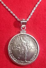 1941 Vatican St Michael the Archangel WWII Coin Sterling Silver Pendant Necklace