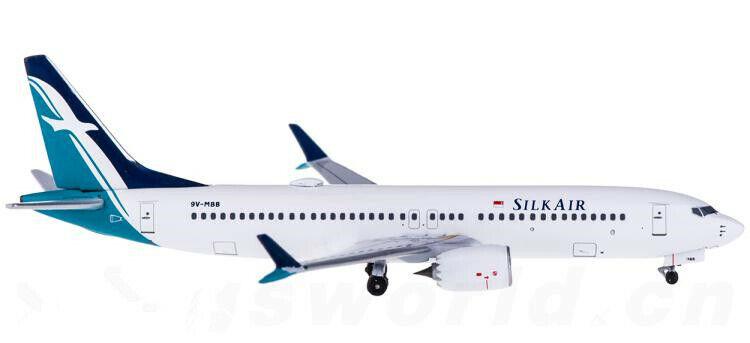 1 400 Aeroklassics SILK AIR BOEING 737 MAX 8 Passagerarplan tärningskast modelllllerler