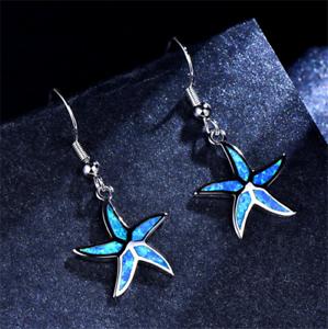 1-Pair-Woman-Fashion-925-Silver-Starfish-Blue-Fire-Opal-Charm-Earring-Pendant