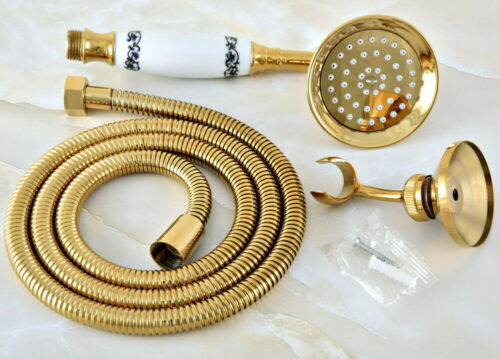 1.5m Hose Bracket Golden Brass Bathroom Telephone Hand Held Shower Head