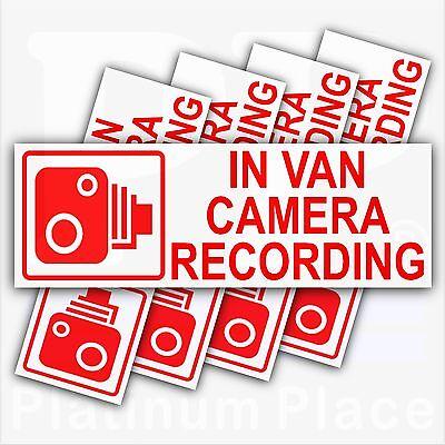 5 x In VAN Camera Recording Warning Stickers-CCTV Sign-Van,Transit-30mm-RW