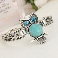 New Boho Tibetan Silver Turquoise Owl Bird Blue Charm Bracelet Bangle Jewellery