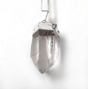 Quartz Crystal Natural Terminated Point Pendant Sterling Silver Necklace CHARGED