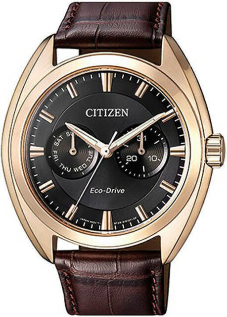 17d28a8af CITIZEN MEN ECO DRIVE BU4018-11H ROSE GOLD DAY DATE LEATHER STAINLESS STEEL  100m