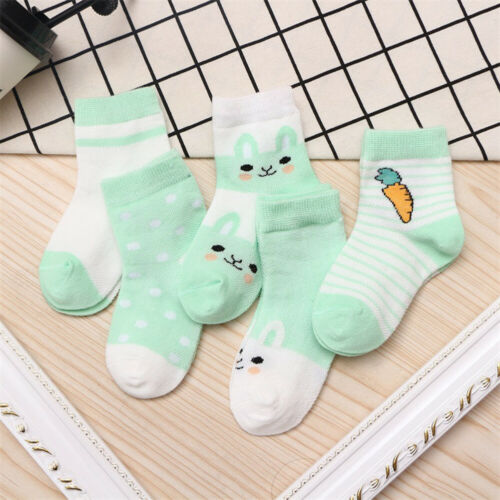 CW/_ 5 Pairs Boys Girls Baby Summer Cartoon Cotton Mesh Middle Tube Socks Sanwood
