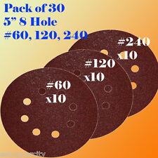 """5"""" 8 Hole 60 120 240 Grit Sanding Paper Hook & Loop Sandpaper Palm Sander Ryobi"""