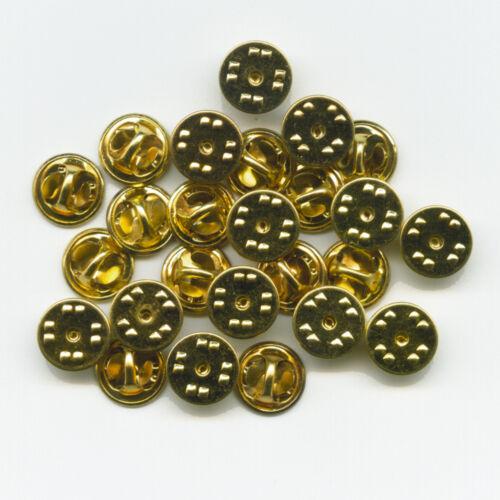 25 neue goldfarbene Verschlüsse Butterfly Clips für Metall Pin Anstecker
