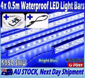 4X12V Waterproof BLUE 5050 Led Strip Lights Bars Car Camping Boat+Remote