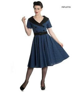 Hell-Bunny-40s-50s-Pin-Up-Swing-Dress-Black-Navy-BRIDGET-Gingham-All-Sizes
