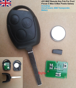 3 Button Remote Full Key Fob+Flat blade For Ford Focus C-Max S-Max Fiesta Galaxy