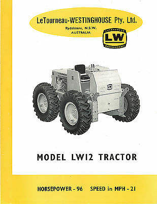 Le Tourneau Model LW16T Tractor Brochure 1959