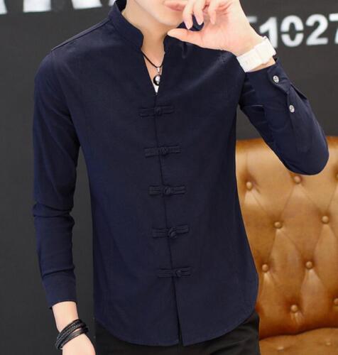 New fashion Hommes à Manches Longues Style chinois robe shirts Lapel de tricots Sbox1