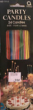 Amscan Multi Color Thin Long Birthday Cake Party Candles 24pk