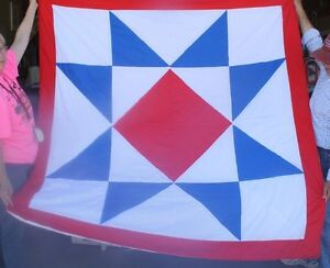 New Native American Red Blue Star Quilt 70x71 Amazing Craftmanship