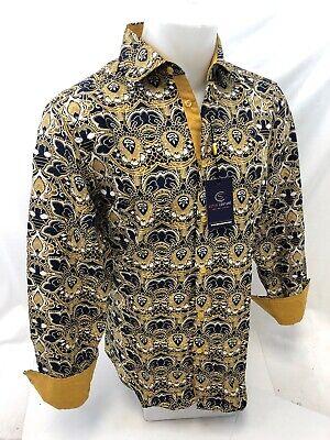 Mens Barabas Premiere Classic Fit Shirt Silver Grey Floral Design Button Front