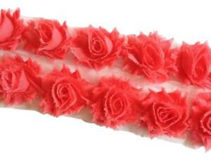 "1//2 or 1 yard Light pink petite 1.5/"" shabby chiffon rose trim frayed flower"