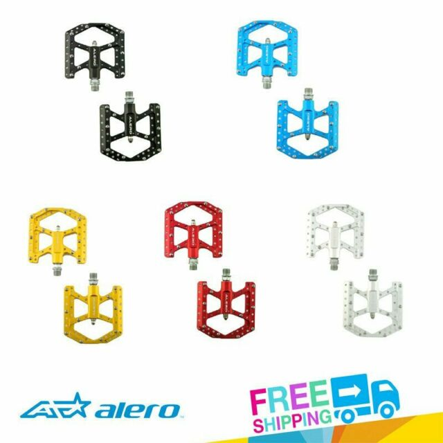 """Venzo Flat CNC Alloy 9//16/"""" Mountain Bicycle CR-MO Axle Sealed Pedals Black"""