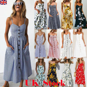 a902533a7c07 Image is loading UK-Womens-Swing-Dress-Strappy-Button-Pocket-Holiday-
