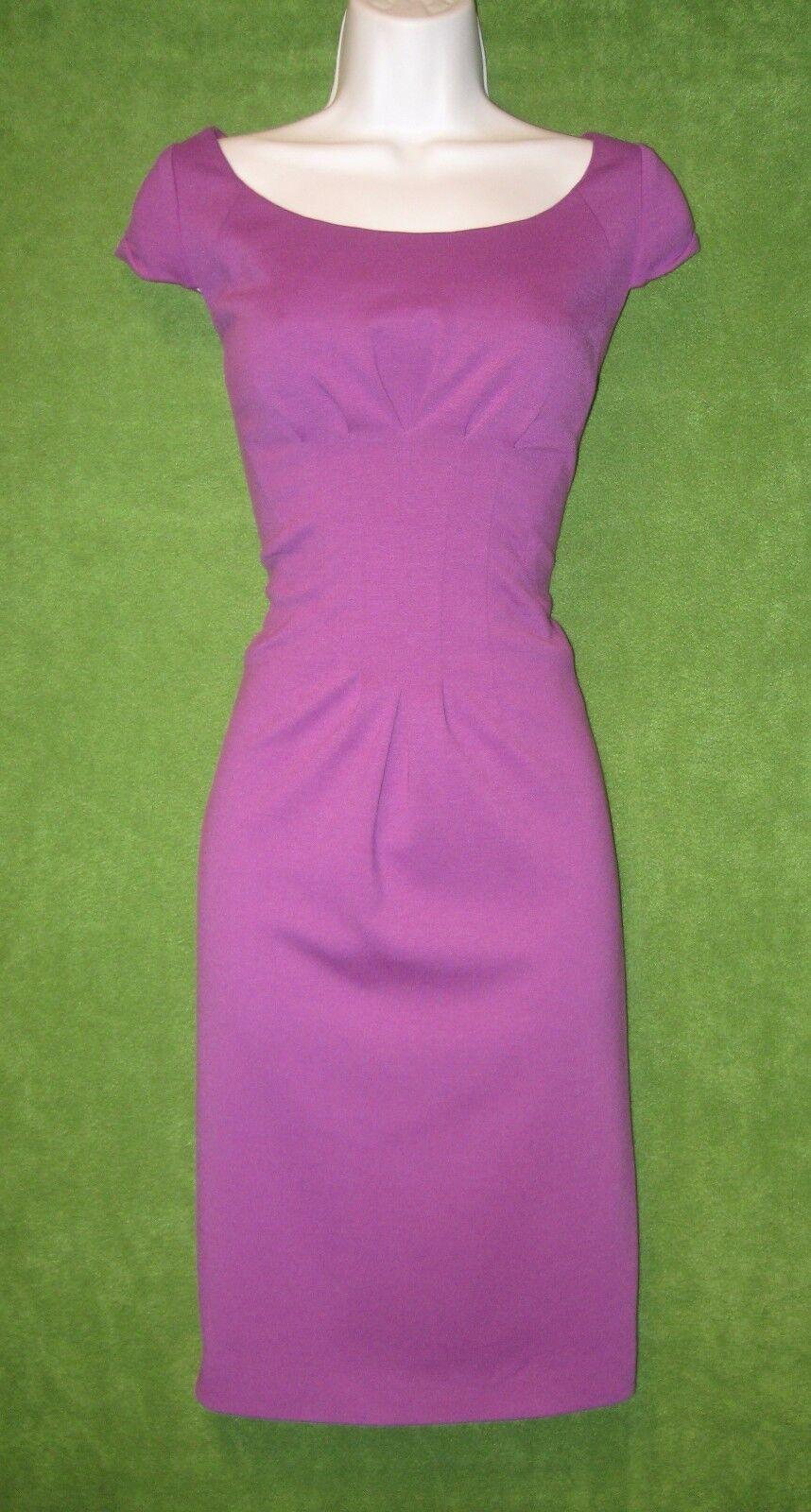 Tahari Purple Stretch Knit Pleated Waist Work Social Dress  6